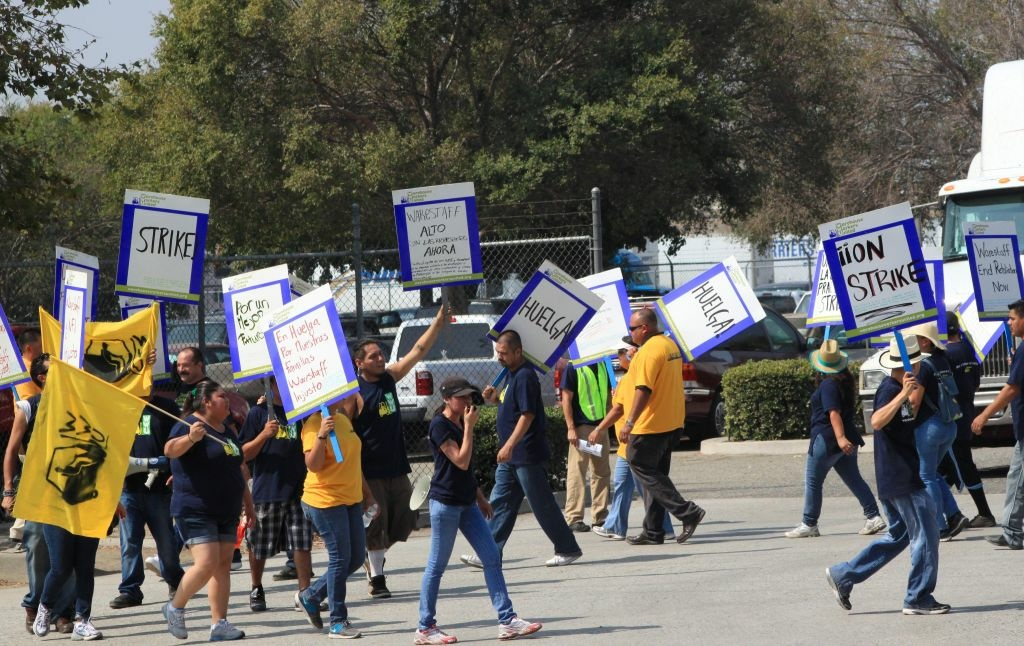 Inland warehouse workers picketed a Wal-Mart distribution center in Eastvale on Wednesday over alleged workplace abuses. Under a new rule, the city of Newport Beach is okay with protests held in public places, but picketing won't be allowed in front of a person's home. The city joins three other Orange County cities with similar bans.
