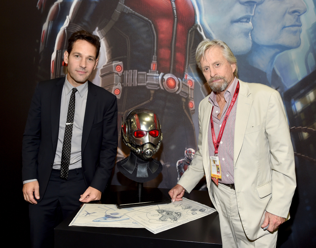 Actors Paul Rudd (L) and Michael Douglas attend Marvel's