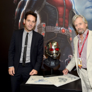 "Actors Paul Rudd (L) and Michael Douglas attend Marvel's ""Ant-Man"" Hall H Panel Booth Signing during Comic-Con International 2014 at San Diego Convention Center on July 26, 2014 in San Diego, California."