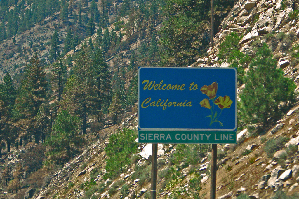 Road sign along Interstate 80 just west of the California-Nevada border.