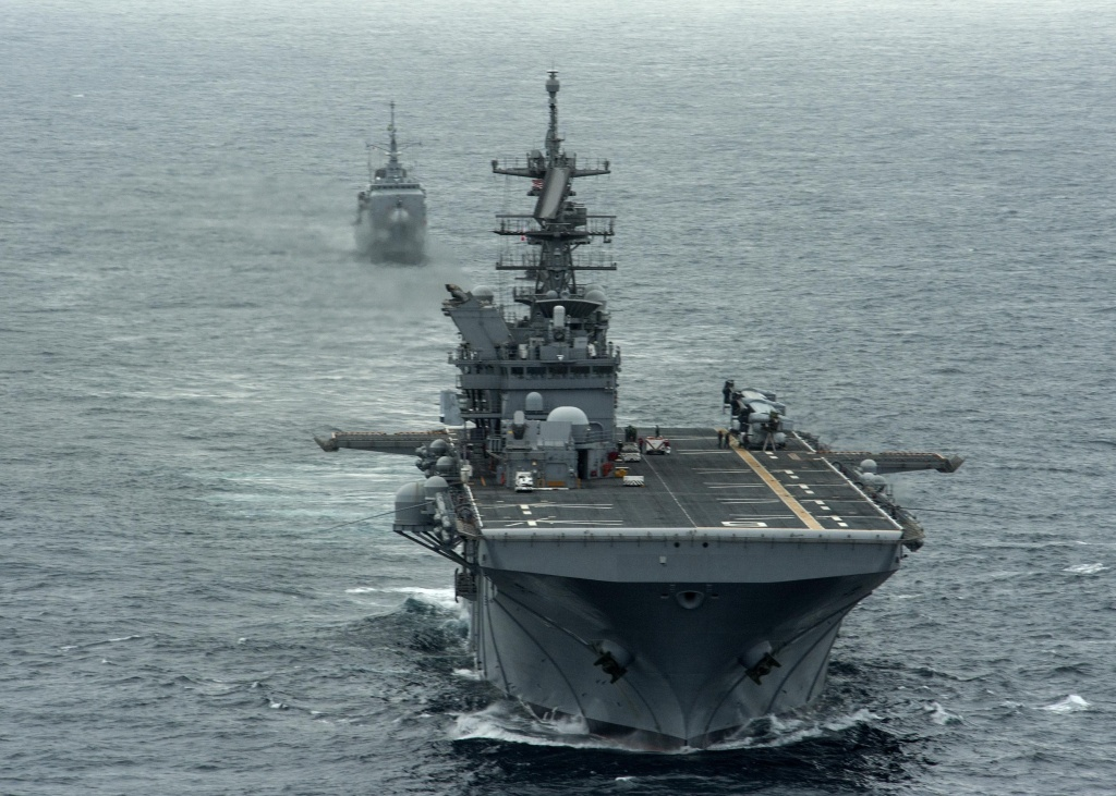 The amphibious assault ship USS America, one of the Navy ships visiting the Port of Los Angeles for L.A.'s first-ever Fleet Week. Its large flight deck can accommodate a wide array of aircraft.