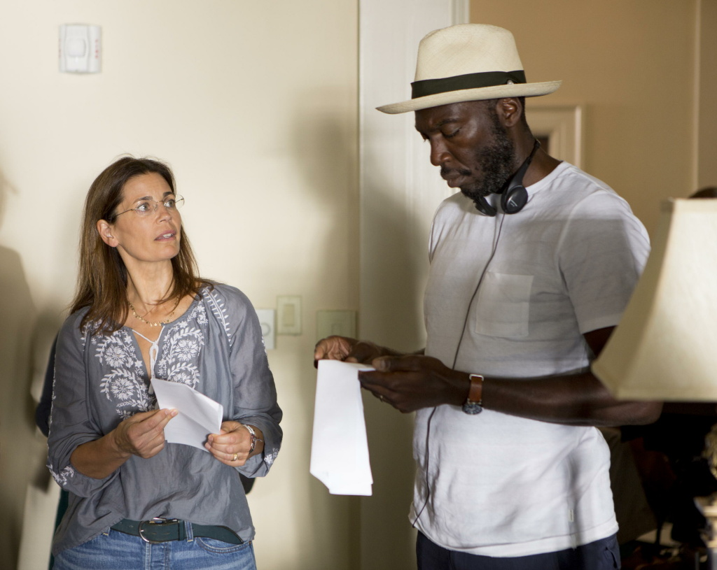 Screenwriter and executive producer Susannah Grant and director Rick Famuyiwa on the set of HBO's