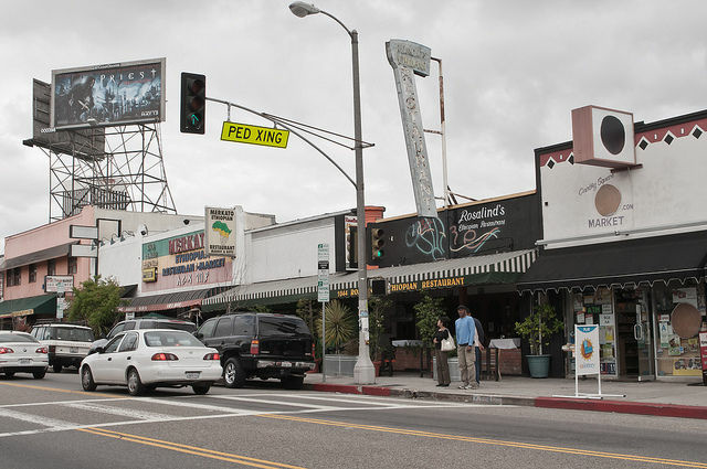 Businesses along Fairfax Avenue in Los Angeles' Little Ethiopia neighborhood, May 8, 2011.