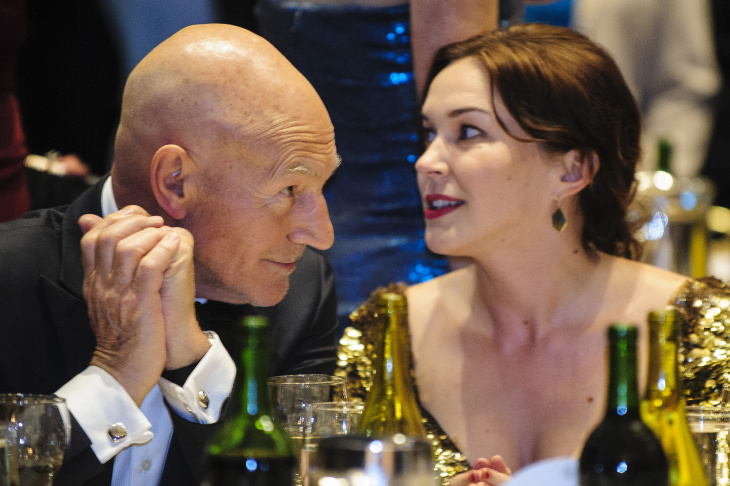 Sunny Ozell and boyfriend Sir Patrick Stewart (L) pose at Ronnie Scott's as part of her UK debut at Ronnie Scott's Jazz Club on October 17, 2012 in London, England.