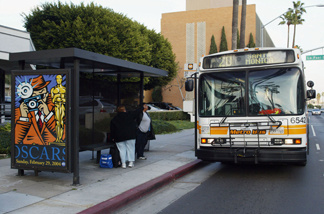 File photo: A bus stop on Wilshire Boulevard near the Academy of Motion Pictures Arts and Sciences on January 30, 2004 in Beverly Hills.
