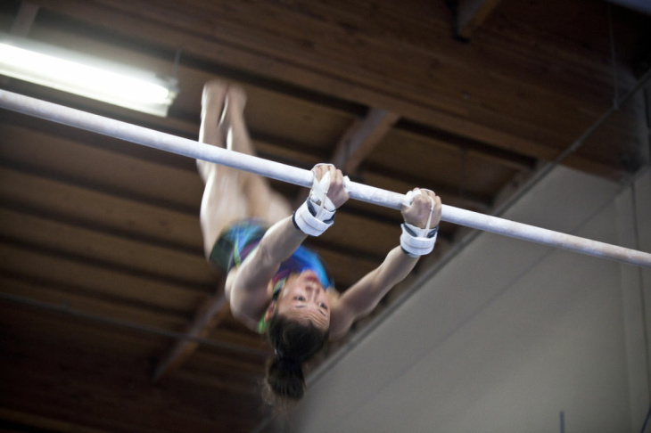 Kyla Ross prepares to practice her mat routine at the gym where she trains, Gym-Max, in Costa Mesa. Ross, 15, is part of a five-member women's team expected to take gold at the 2012 Summer Olympics.