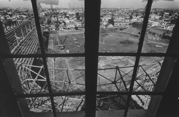 The view of Wrigley Field's Demolition through a shattered window, March 19, 1966.