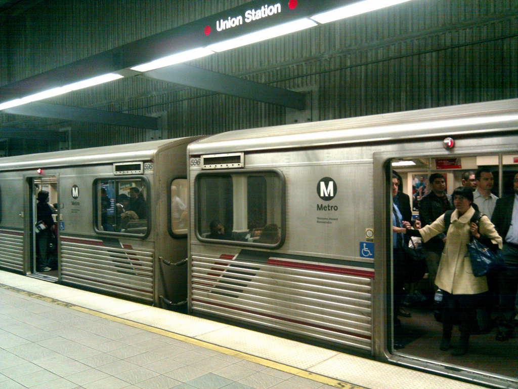 FILE: A video of a young woman being dragged from a Metro Red Line subway train by an LAPD officer after she refused to remove her feet from the seat has gone viral, prompting reaction from the transit agency board.
