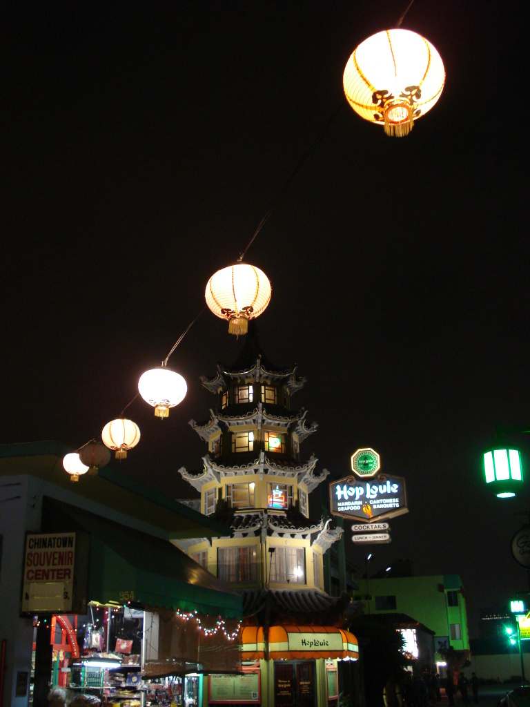 A nighttime shot of Hop Louie in L.A.'s Chinatown.