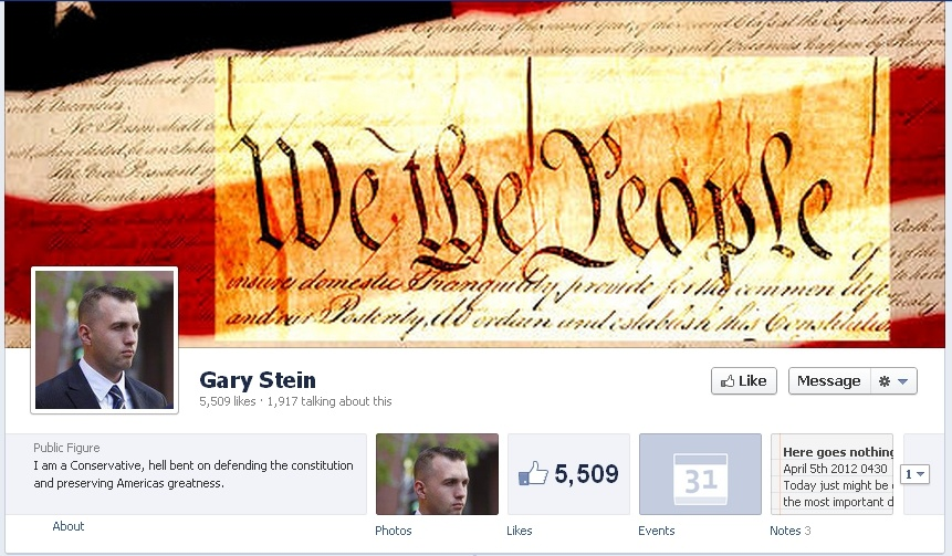 A screen shot of Sgt. Gary Stein's Facebook page.