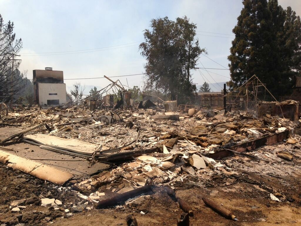 A home destroyed in the Mountain Fire near Idyllwild. The fire had consumed some 8,000 acres as of Tuesday afternoon.