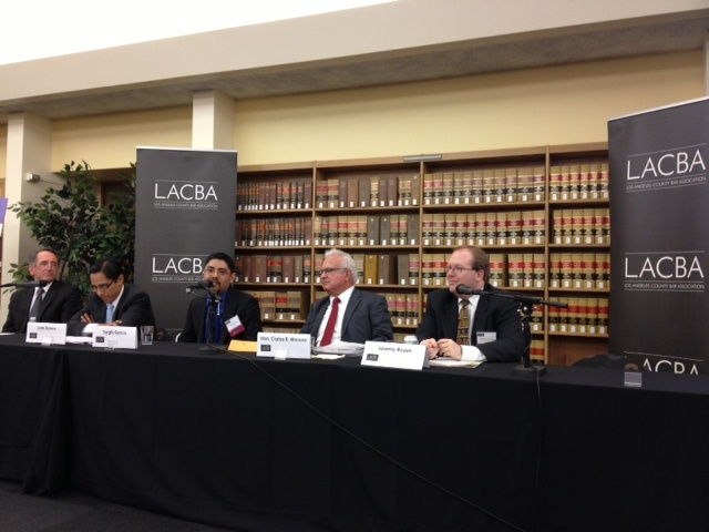 A panel of legal experts discuss Sergio Garcia's case before the State Supreme Court at the LA Law Library.