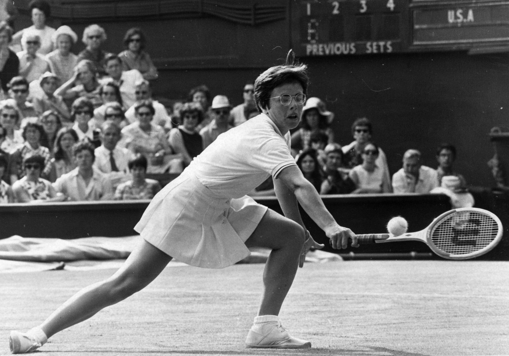 American tennis player Billie Jean King in action against Ann Jones of Great Britain during their Wightman Cup match at Wimbledon on June 14, 1970.