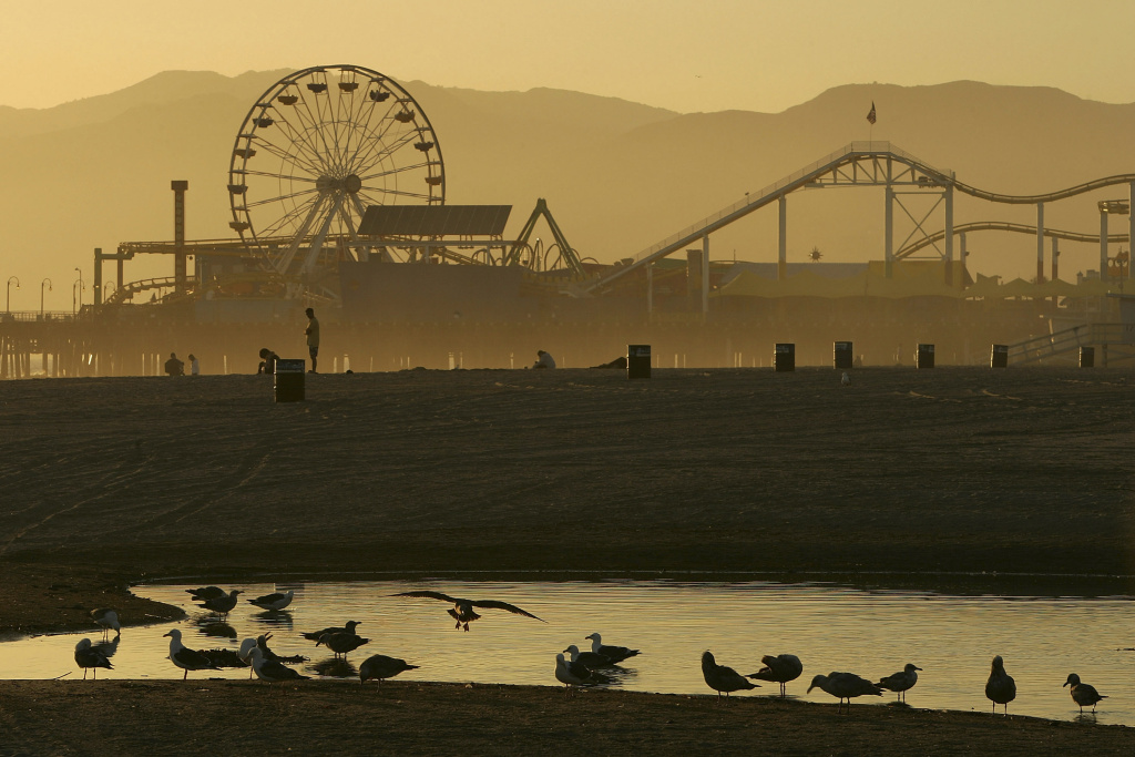 File: The Pacific Wheel Ferris wheel, which has appeared in countless television shows, feature films, and commercials, stands idle on the Santa Monica Pier on April 16, 2008.