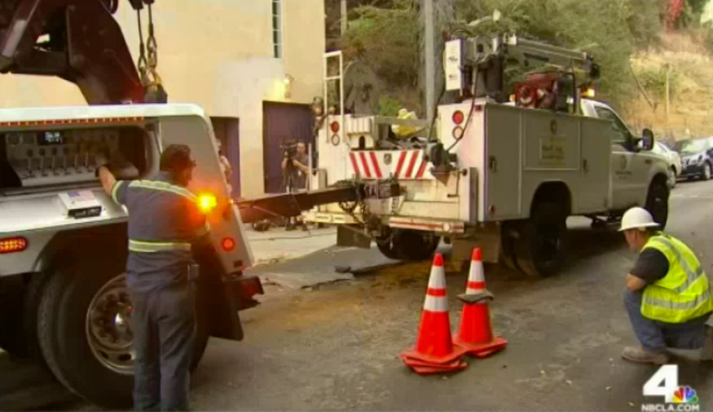 The Department of Water and Power said water main ruptures occurred early Friday in Hollywood, Hollywood Hills and Silver Lake. In Silver Lake, an LADWP truck became stuck in a sink hole that resulted from the break.