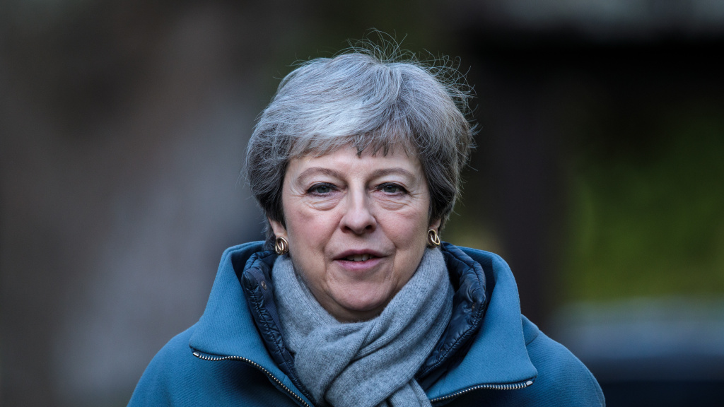 British Prime Minister Theresa May attends a church service on Sunday in Aylesbury, England. May is reportedly facing pressure from within the Conservative Party to quit over her handling of the Brexit process.