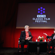 Film critic Leonard Maltin (L) and actor Lee Grant speak onstage at A Conversation with Lee Grant during the 2017 TCM Classic Film Festival on April 8, 2017 in Los Angeles, California.