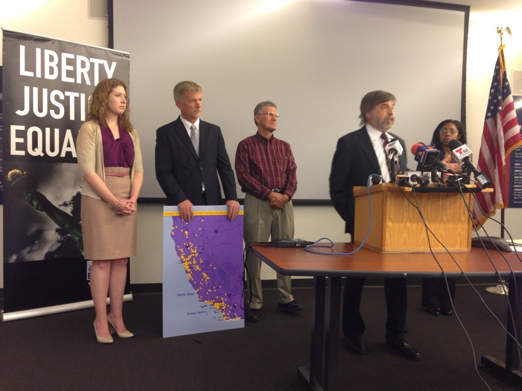Civil Rights lawyers at a press conference Wednesday announcing a lawsuit against California for allegedly failing to provide mandated help for students who aren't fluent in English.