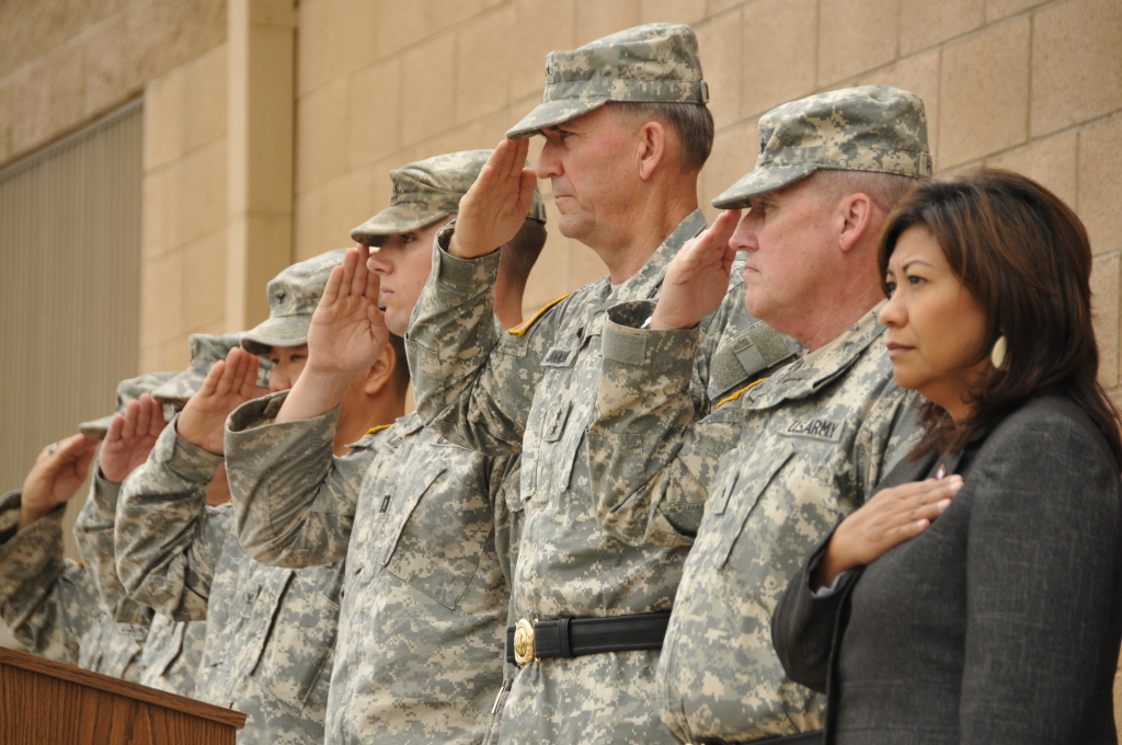 Assembly member Norma J. Torres with the California National Guard in Riverside, CA.