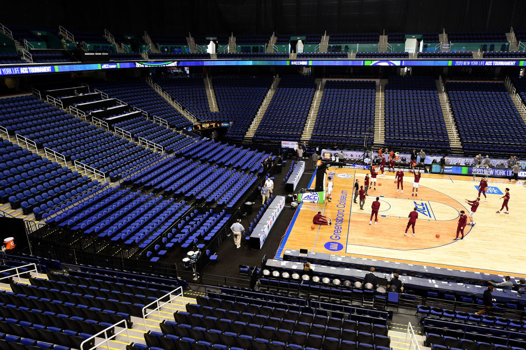 A general view of empty seats during the 2020 Men's ACC Basketball Tournament at Greensboro Coliseum on March 12, 2020 in Greensboro, North Carolina.