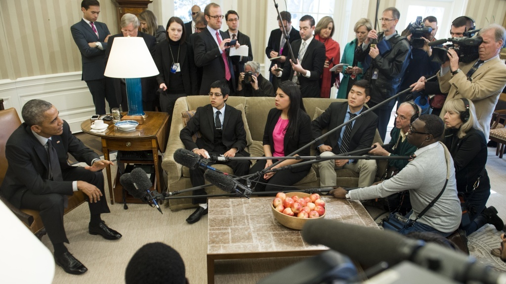 President Barack Obama speaks about immigration reform during a meeting with young immigrants in the White House on February 4. The president's 2014 executive actions on immigration have been caught up in a legal dispute, which the White House has appealed to the Supreme Court.