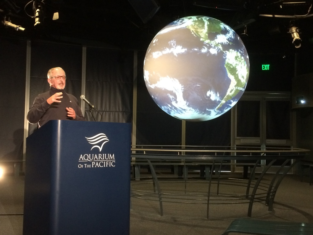 Bill Patzert, climatologist for the Jet Propulsion Laboratory, explains El Niño and its impacts at the Aquarium of the Pacific in Long Beach on November 13, 2014.