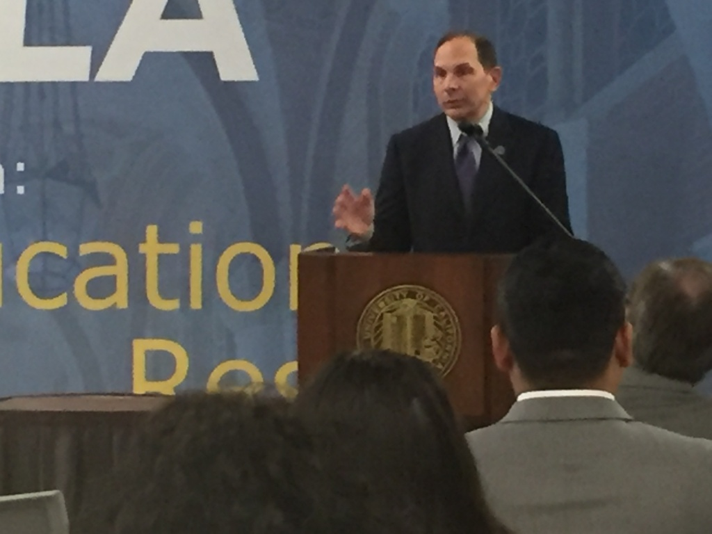 Department of Veterans Affairs Secretary Bob McDonald speaking at an event at UCLA, asking landlords to offer leases to homeless veterans with housing vouchers.