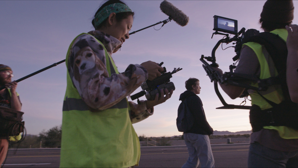 Director/Writer Chloé Zhao and Frances McDormand on the set of