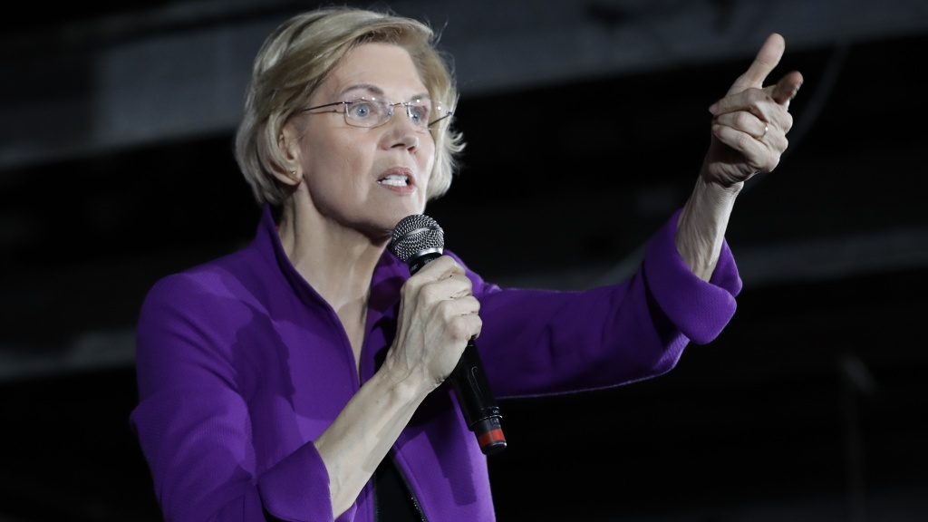 Democratic presidential candidate Sen. Elizabeth Warren, D-Mass., speaks to local residents last Friday in the Queens borough of New York. She wants to break up tech giants.