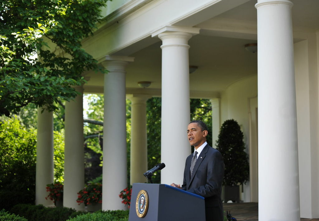 US President Barack Obama speaks on Wall Street reform May 20, 2010 in the Rose Garden of the White House in Washington, DC.