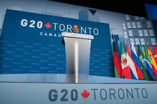 US President Barack Obama at a press conference speaks at the conclusion of the G20 Summit in Toronto, Ontario, Canada, June 27, 2010.