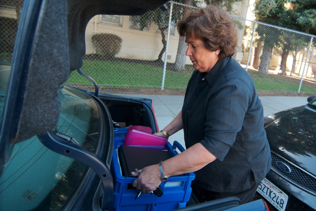 Linda Mouradian is a traveling music teacher for Los Angeles Unified. She commutes from her home in Porter Ranch and carries most of her supplies with her. The district is making changes to elementary arts instruction for the 2014/2015 school year in an attempt to provide more students access  to the arts.