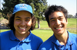 Two members of the golf team at North Hollywood High School. Alphabet (r) has a scratch game.