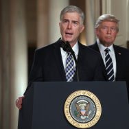 Judge Neil Gorsuch delivers brief remarks after being nominated by U.S. President Donald Trump to the Supreme Court with his wife Marie Louise Gorshuch.