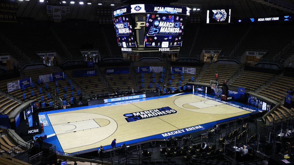 All men's NCAA Basketball Tournament games are being held in Indiana in a makeshift coronavirus bubble. Purdue's Mackey Arena in West Lafayette is hosting some of the early games.