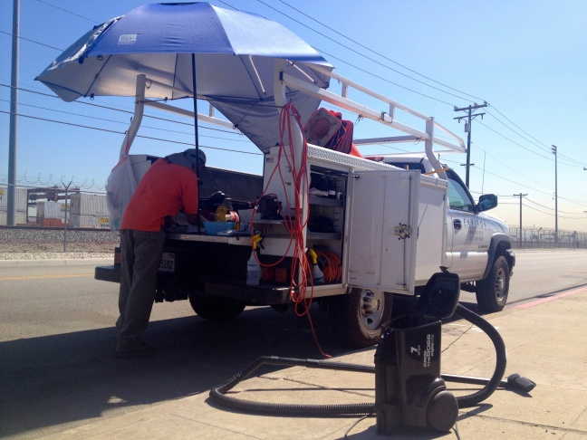 Environmental testing near Exide Technologies' Vernon plant included sampling for toxic contamination in dust on August 29, 2013.