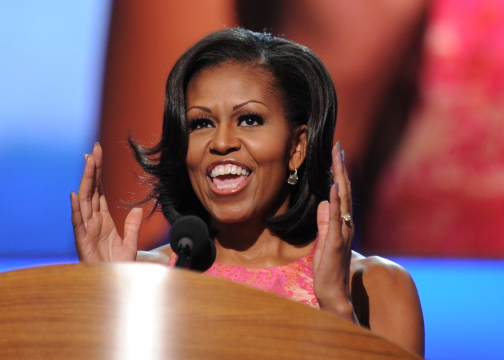 First Lady Michelle Obama delivers a speech at the Time Warner Cable Arena in Charlotte, North Carolina, on September 4, 2012 on the first day of the Democratic National Convention (DNC).