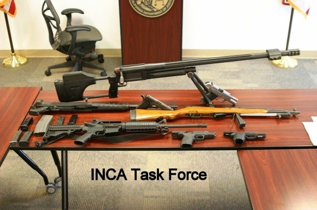 Assault weapons like these that were seized in a Moreno Valley raid are illegal in California.