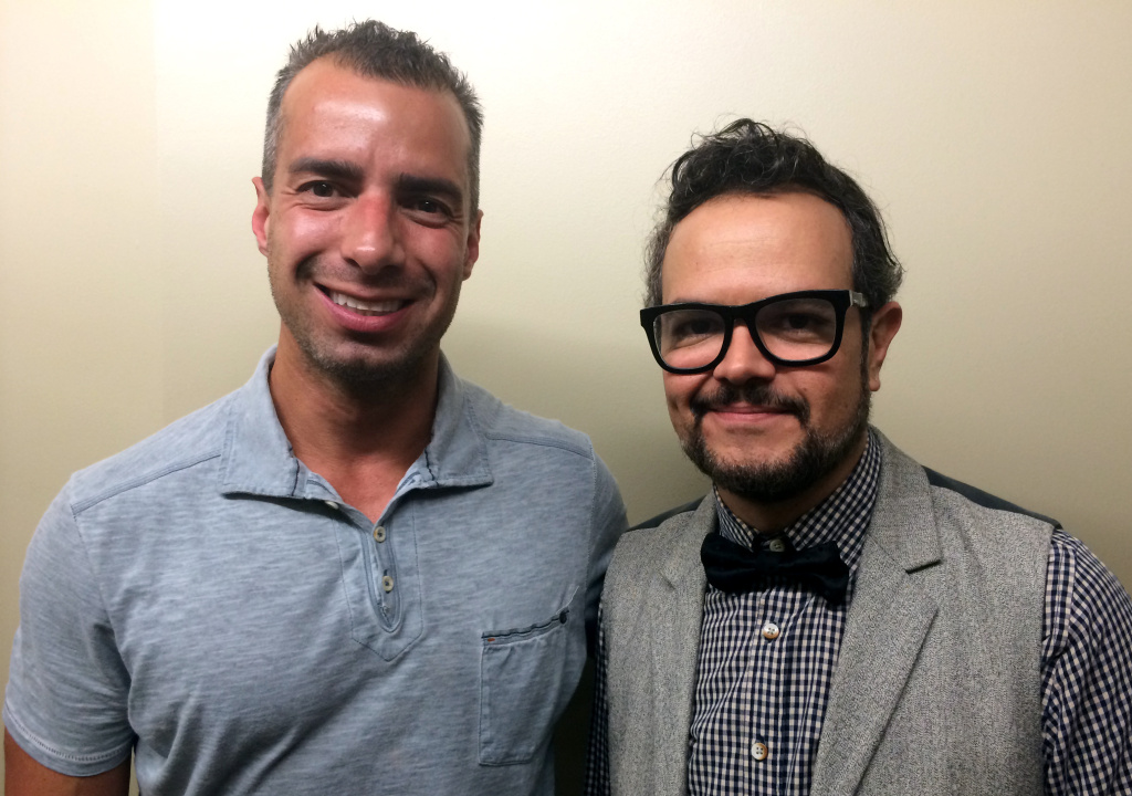 A Martinez poses with Aleks Syntek, right, at KPCC in Pasadena.