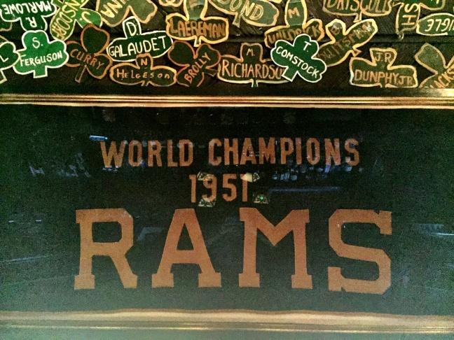 The 1951 LA Rams championship banner, hanging at Tom Bergin's, the Irish pub on Fairfax.