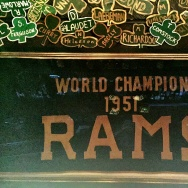The 1951 LA Rams championship banner, hanging at Tom Bergin's, the Irish pub on Fairfax.