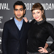 """Actor Kumail Nanjiani and Emily Gordon attend the """"The Big Sick"""" premiere during day 2 of the 2017 Sundance Film Festival at Eccles Center Theatre on January 20, 2017 in Park City, Utah."""
