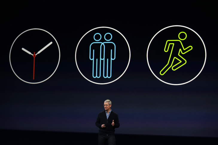 Apple CEO Tim Cook announces the Apple Watch during an Apple special event at the Yerba Buena Center for the Arts on March 9, 2015 in San Francisco, California. Apple Inc. is expected to unveil more details on the much anticipated Apple Watch, the tech giant's entry into the rapidly growing wearable technology segment.