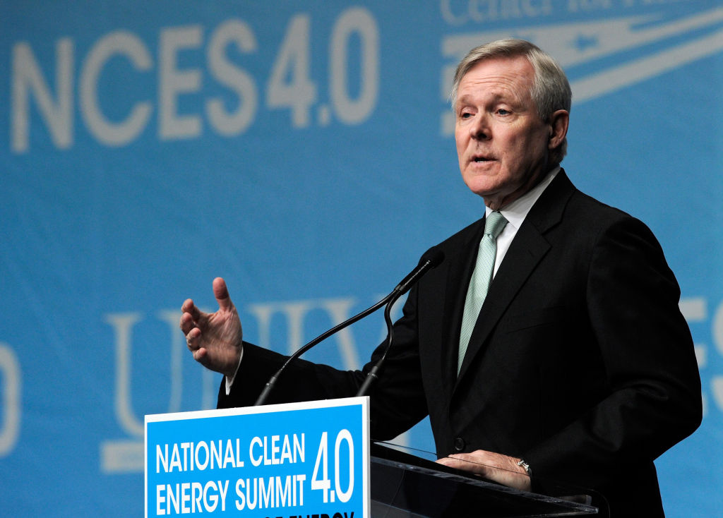 U.S. Secretary of the Navy Ray Mabus speaks during the National Clean Energy Summit 4.0 on August 30, 2011 in Las Vegas, Nevada. Mabus supports the use of biofuel within the US Navy, saying it