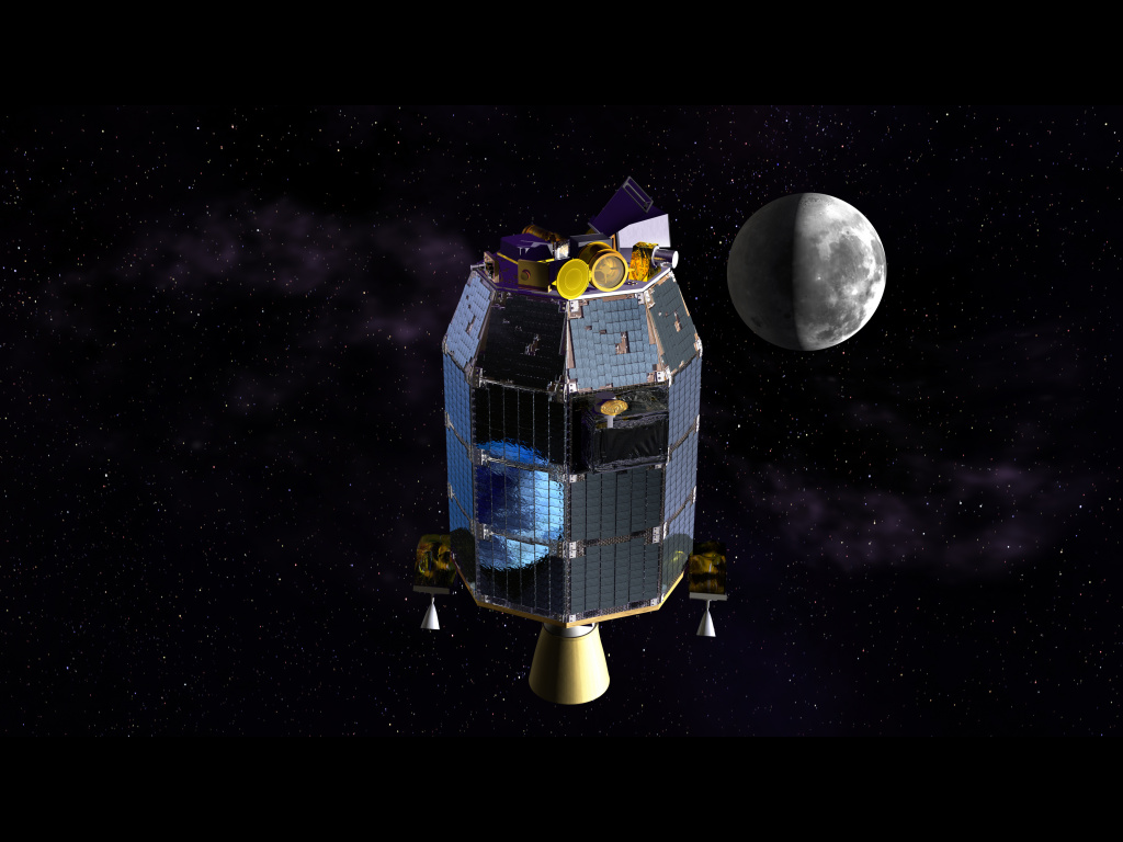 This is an artist's depiction of NASA's Lunar Atmosphere and Dust Environment Explorer (LADEE) observatory in space with the moon in the distance.