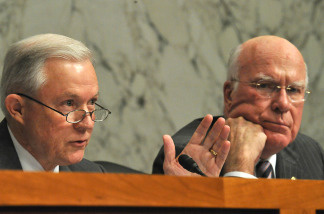 Sen. Jeff Sessions(L),R-AL, questions Supreme Court nominee Elena Kagan as Sen. Patrick Leahy,D-VT, looks on during the second day of her confirmation hearings on Capitol Hill on June 29, 2010 in Washington, DC.