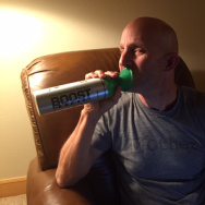 John Horn, host of The Frame, takes time for an oxygen boost (part of the gift bag for Telluride Film Festival ticket-buyers)