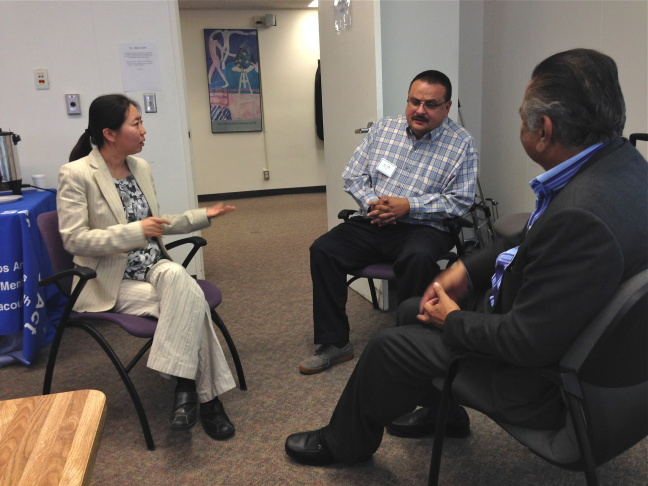 "Participants in ""Clergy Academy"" act out scenarios in which pastors might have to help church members struggling with mental health issues. From (l. to r.) Sister Mary Yun, Edward Godinez and Randy Carrillo."