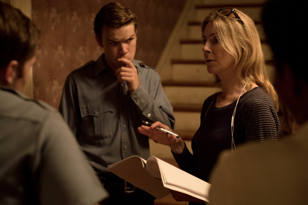 "Will Poulter and director Kathryn Bigelow on the set of ""Detroit."""