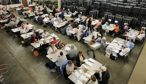 Workers sort mail ballots at the County of Orange Registrar of Voters in Santa Ana, CA in this 2008 file photo.